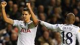 Erik Lamela (left) enjoyed scoring his first goal for Tottenham