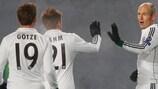 Arjen Robben celebra el primer tanto del Bayern