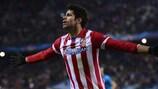 Diego Costa festeja depois de marcar o segundo golo do Atlético