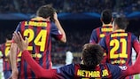 Neymar laps up the adulation after a first UEFA Champions League hat-trick