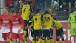 Sevilla celebrate after taking the lead against Freiburg
