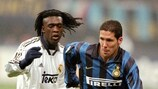 Real Madrid's Seedorf tracks Inter's Diego Simeone during the 1998/99 UEFA Champions League
