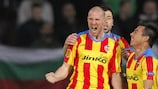Senderos celebrates scoring against Ludogorets in the first leg