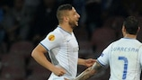 Nabil Ghilas celebrates after equalising in Naples