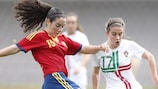 Spain's Ainoa Campo challenges Portugal's Cláudia Lima in today's Group 1 game