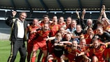 Belgium celebrate after beating Germany to qualify for the finals