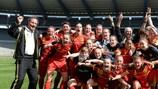 A Bélgica celebra após vencer a Alemanha e qualificar-se para a fase final
