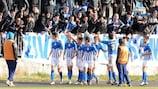 Sutjeska celebrate in front of their fans