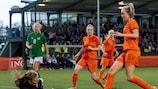 The Netherlands' Jill Roord has a shot saved by Ireland goalkeeper Courtney Brosnan