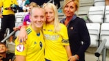 Stina Blackstenius celebrates with her mother and sister at full time