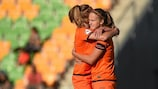 Vivianne Miedema (right) and Jill Roord celebrate against Scotland