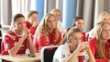 Norway players attend an anti-doping session in Lillestrom