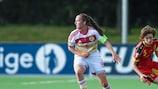 Belgium's Tinne Van Den Bergh vies with Scotland forward Caroline Weir
