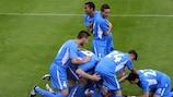 Santa Coloma celebrate scoring the only goal