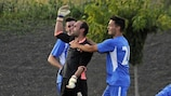 Santa Coloma keeper Eloy Casals is congratulated after his dramatic last-gasp intervention