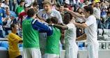 O Astana festeja a vitória por 3-0 sobre o Hapoel Tel-Aviv