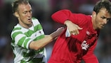 Scott Ruscoe vies with Liverpool's Dietmar Hamann during a 2005/06 first qualifying round tie