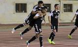 Reynaldo (No9) celebrates his goal for Qarabağ