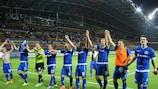 O Dínamo Minsk celebra triunfo na primeira mão ante o Cluj