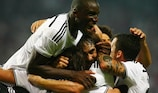 Demba Ba celebrates his historic hat-trick goal
