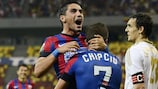 Nicolae Stanciu is hoisted aloft after scoring Steaua's second