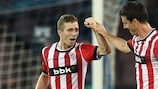 Iker Muniain (left) is congratulated after putting Athletic ahead