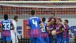 Steaua celebrate one of Claudiu Keșerü's three goals against AaB