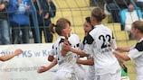 Medyk Konin celebrate one of their first-leg goals