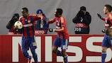 Seydou Doumbia (à esquerda) após marcar pelo CSKA