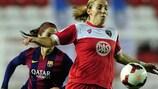 Grace McCatty del Bristol en acción contra el Barcelona