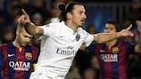 Zlatan Ibrahimović celebrates his opener for Paris against Barcelona