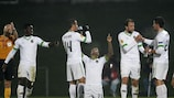 Yonathan Del Valle celebrates after scoring his and Rio Ave's second of the night