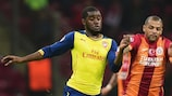 Joel Campbell (left) in action for Arsenal