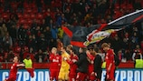 Ever the wallflower, Kyriakos Papadopoulos reluctantly leads Leverkusen celebrations at full time
