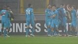El Zenit celebra su victoria y el pase a octavos