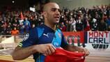 Aymen Abdennour celebrates at full time at Stade Louis II