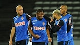 Almamy Touré is congratulated after scoring his first Ligue 1 goal