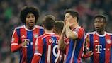 Robert Lewandowski takes the acclaim after scoring the sixth of Bayern's seven goals