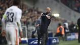Bayern coach Josep Guardiola issues instructions against Shakhtar