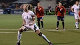 Leah Williamson celebrates after converting her penalty against Norway