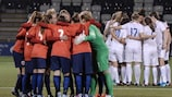 England and Norway ahead of Leah Williamson's retaken penalty in April