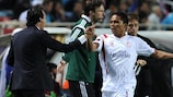 Sevilla goalscorer Carlos Bacca celebrates with coach Unai Emery, who used his bench expertly