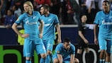 Zenit players looking weary after their 2-1 loss in Seville