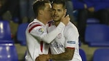 Sevilla striker Kevin Gameiro celebrates with Vitolo last month