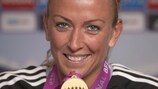 Mandy Islacker shows off her medal last May