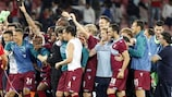 Los jugadores de la Lazio celebran la consecución de la tercera plaza en la Serie A