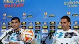 José Antonio Reyes und Fernando Navarro bei der Pressekonferenz vor dem Finale