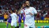 Aleix Vidal celebrates his second of the night for Sevilla