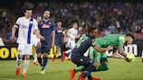 Napoli's Dries Mertens challenges Dnipro keeper Denys Boyko