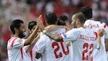 Sevilla celebrate during their win against Fiorentina
